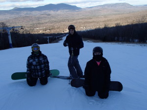 Ryan, Savage and Jacob get a jump on the ski season in early Dec.