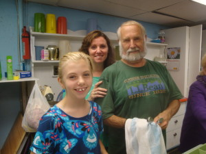 Church Supper helper, Bill Kearns even celebrated his birthday in our kitchen with his daughter, Jen and grand daughter, Olivia.