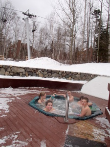 These scouts are tough - Hunter, Caleb and Levi in the outdoor hot tub - temp about 15 degrees!