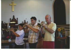"Stowe, Beck and Grandfather Peter Duston play ""When the Saints Go Marching In"""